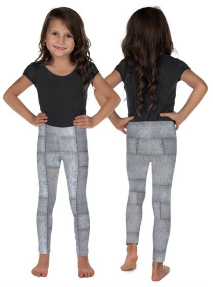 Metal Grill Metallic Rivets Kid's Leggings Exercise Pants for Children