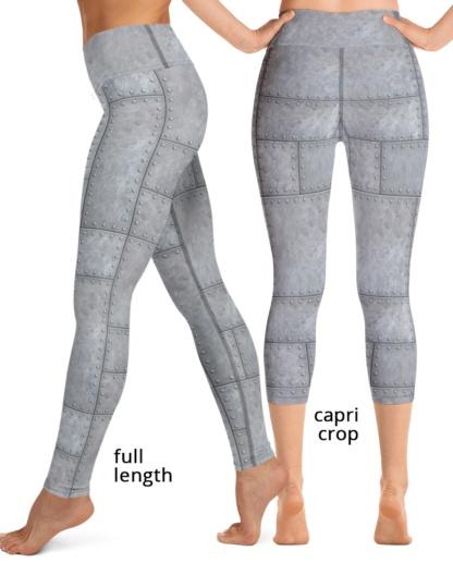 Metal Grill Metallic Rivets Yoga Leggings Exercise Pants