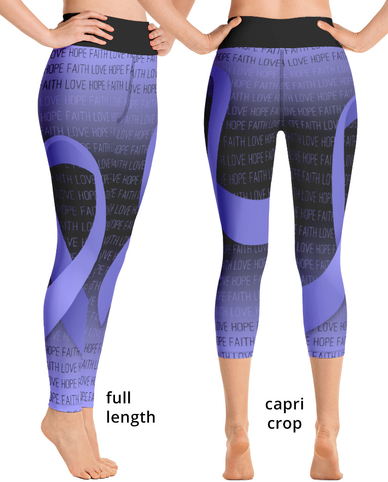 cancer awareness purple lavender ribbon yoga exercise leggings