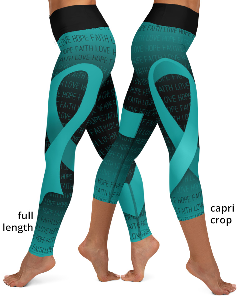 Faith Love Hope Teal Ribbon Cervical Cancer Yoga Leggings