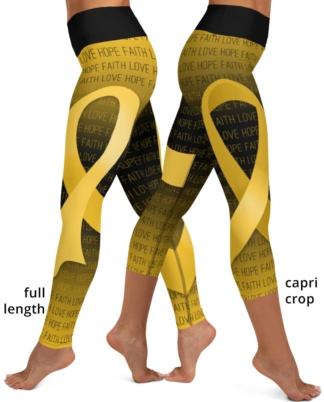 Faith Love Hope Gold Ribbon Childhood Cancer Yoga Leggings