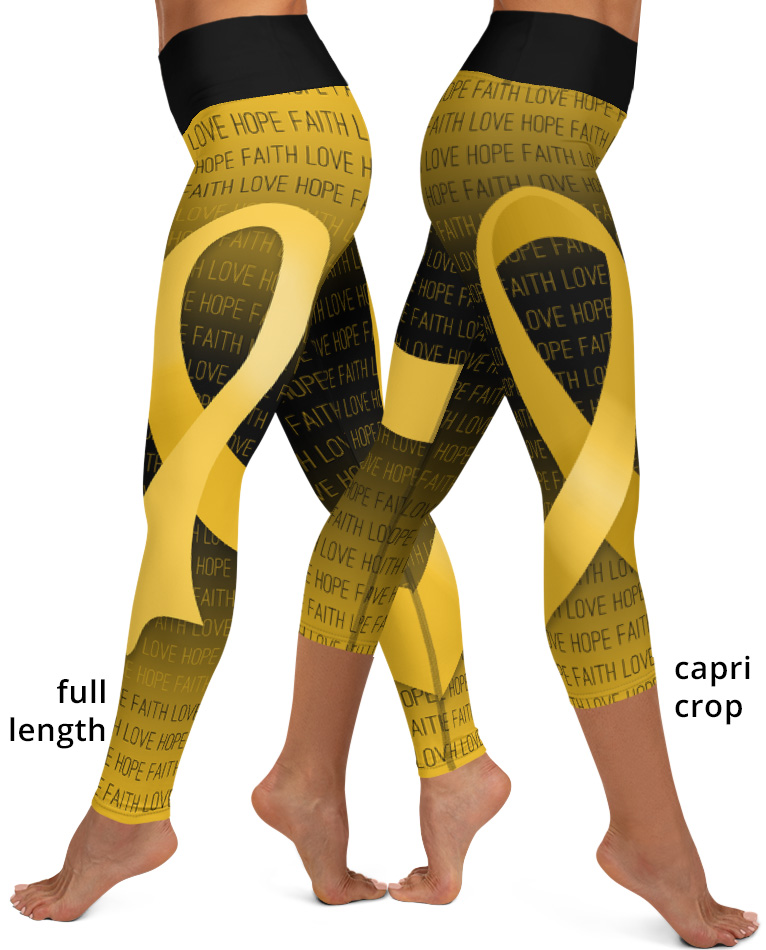 Faith Love Hope Gold Ribbon Childhood Cancer Yoga Leggings