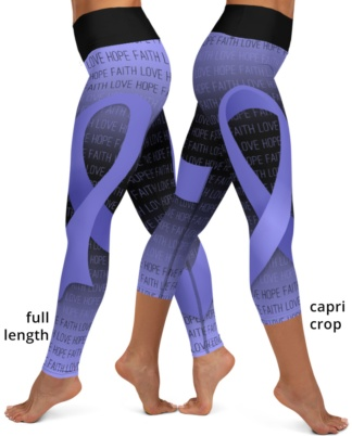 cancer awareness purple lavender ribbon yoga exercise leggings