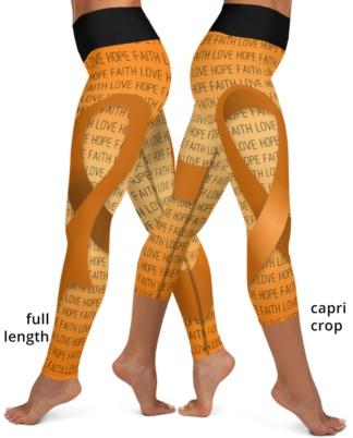Faith Love Hope Orange Ribbon Leukemia Cancer Yoga Leggings