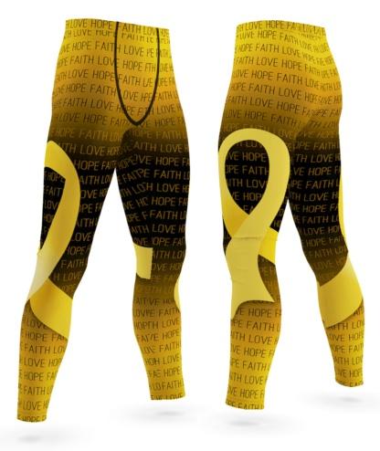 Faith Love Hope Childhood Cancer Gold Ribbon Leggings for Men