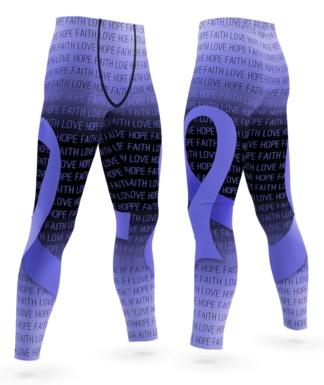 Faith Love Hope Lavender All Cancer Ribbon Yoga Leggings for Men