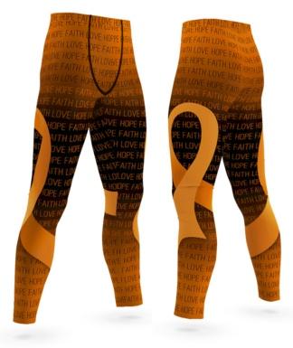Faith Love Hope Leukemia Cancer Orange Ribbon Leggings for Men