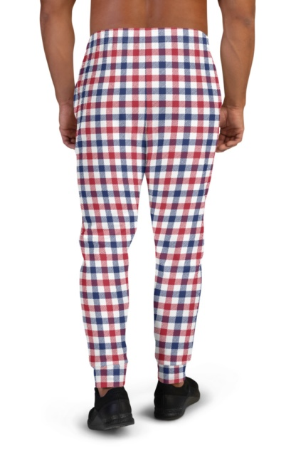 4th of July Red White & Blue Plaid Joggers for Men