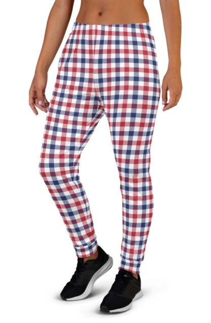 4th of July Red White & Blue Plaid Joggers for Women