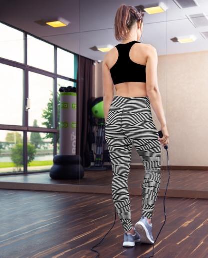 Spaghetti Striped Bandage Yoga Leggings exercise pants