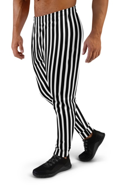 Referee Pants Vertical Strip Joggers for Men