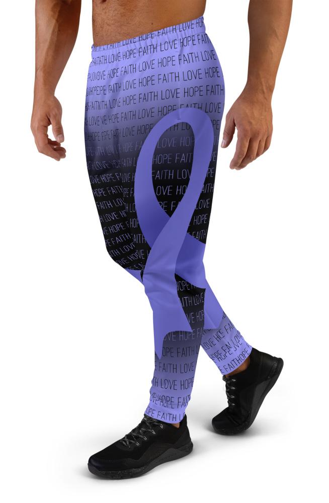Faith Love Hope Lavender All Cancer Ribbon Joggers for Men