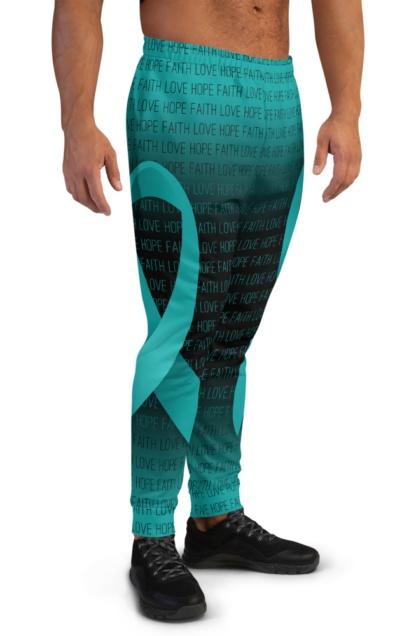 Faith Love Hope Teal Cervical Cancer Ribbon Joggers for Men