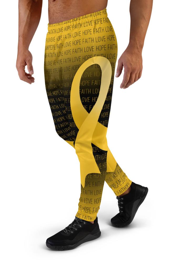 Faith Love Hope Gold Childhood Cancer Ribbon Joggers for Men