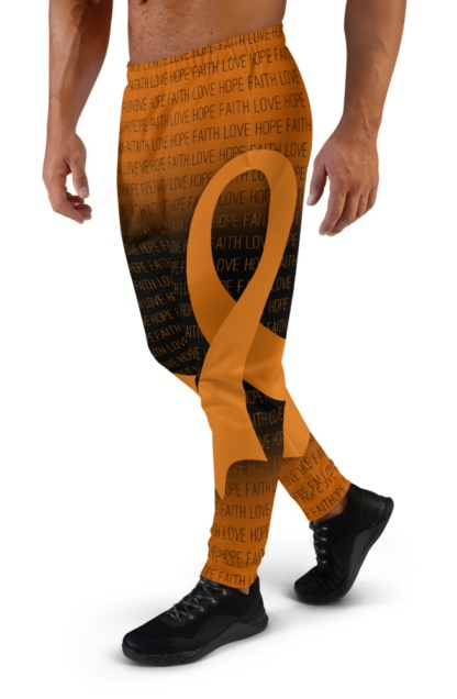 Faith Love Hope Orange Leukemia Cancer Ribbon Joggers for Men