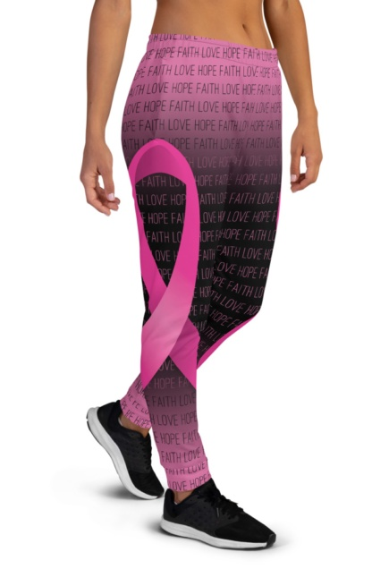 Faith Love Hope Pink Breast Cancer Ribbon Joggers for Women