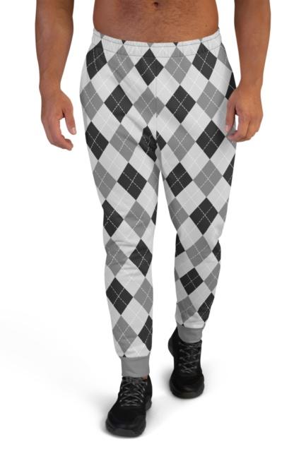 Classic Argyle Joggers for Men Sweat Pants Track Suit Bottoms