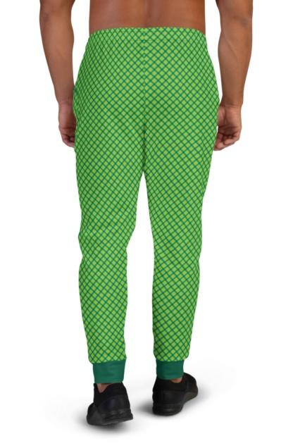 Green Plaid St Patrick's Day Shamrock Stripe Joggers for Men
