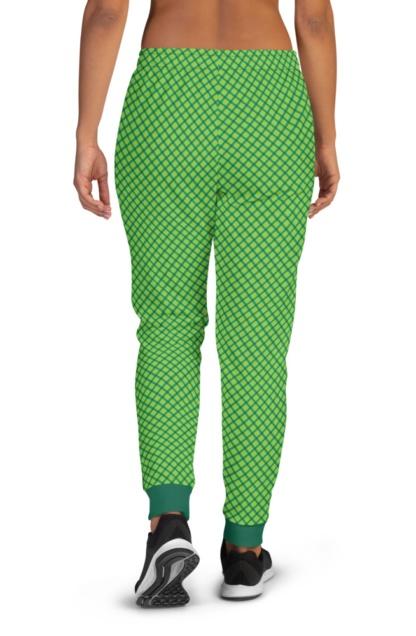 Green Plaid St Patrick's Day Shamrock Stripe Joggers for Women