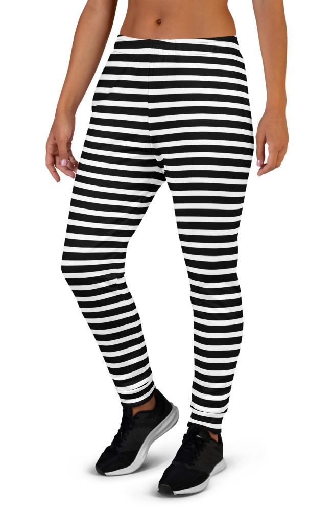 Horizontal Stripes Joggers for Women blue red white black stripes striped stripe