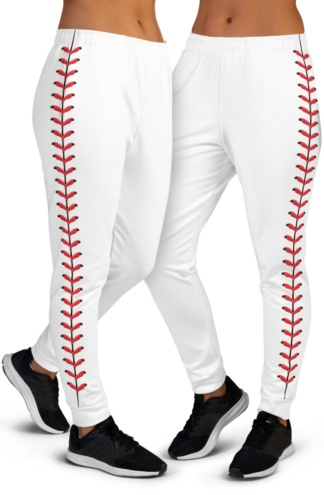 Baseball Stitch Stitches Joggers for women ladies game little league game