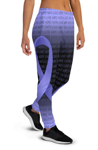 Faith Love Hope Lavender All Cancer Ribbon Joggers for Women