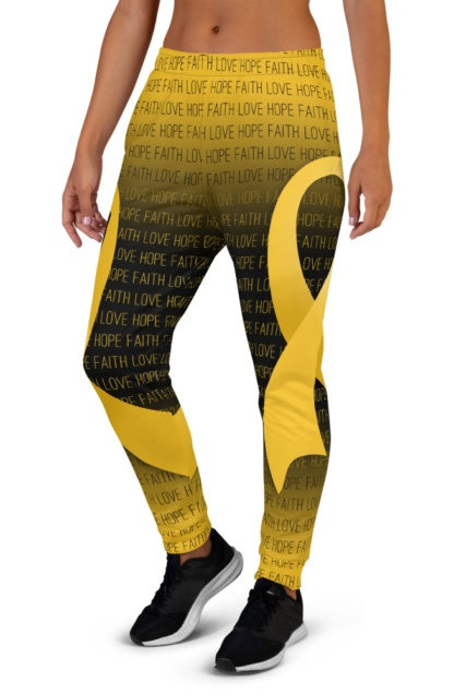 Faith Love Hope Gold Childhood Cancer Ribbon Joggers for Women