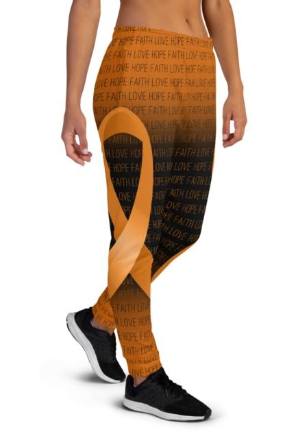 Faith Love Hope Orange Leukemia Cancer Ribbon Joggers for Women