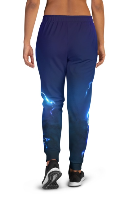 Lightening Bolt Joggers for women thunder storm blue purple