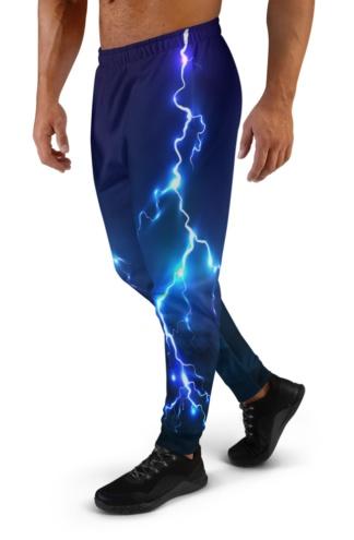 Lightening Bolt Joggers for Men thunder storm blue purple