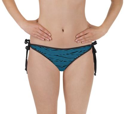 Spaghetti Striped Bandage Bikini Bottom Reversible blue black white pink