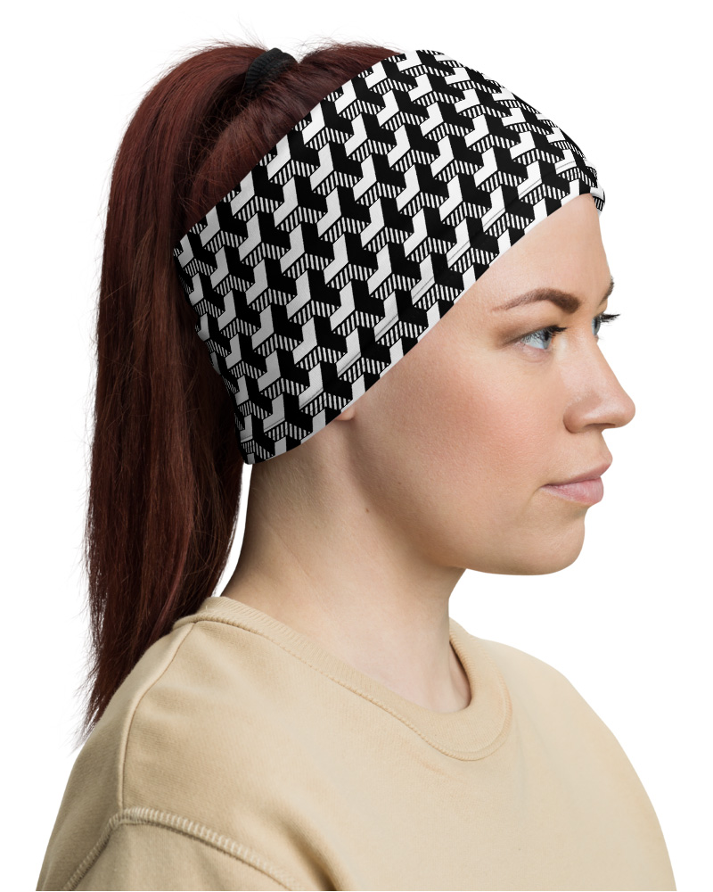 Black & White Geometric Strip Face Mask Neck Warmer