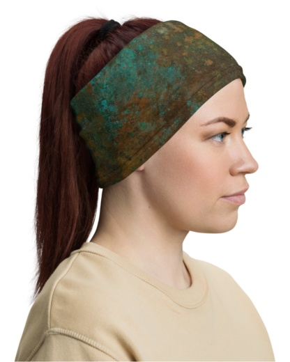 Rusted Copper Mask Neck Warmer gaiter rusty rust metal green tan