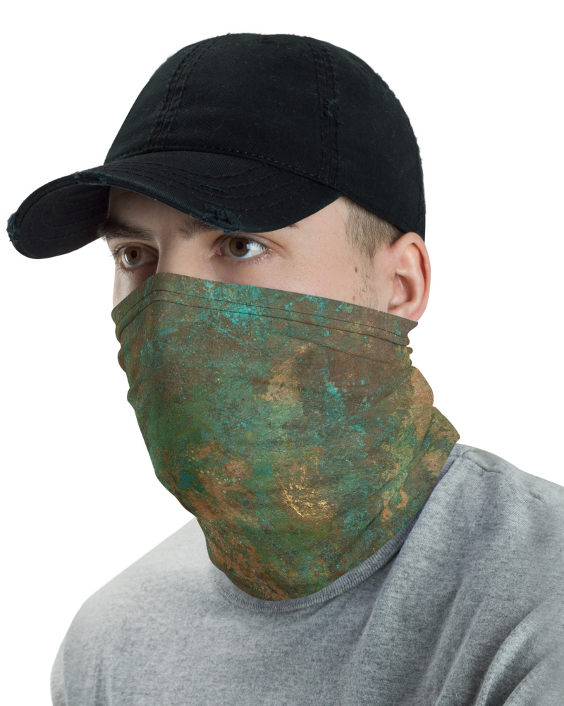 Rusted Copper Mask Neck Warmer gaiter rusty rust metal green tan