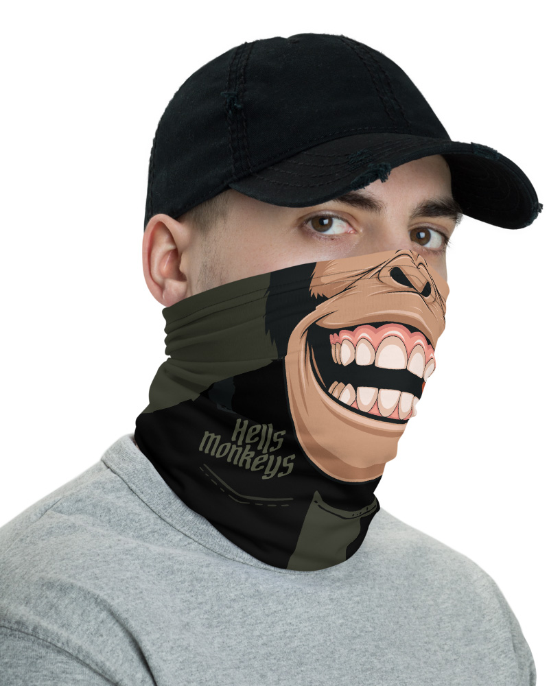 Biker Monkey Face Mask Chimp Neck Gaiter chimpanzee bandana