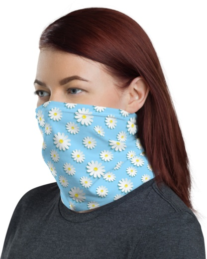 Blue Daisy Face Mask Neck Warmer Gaiter