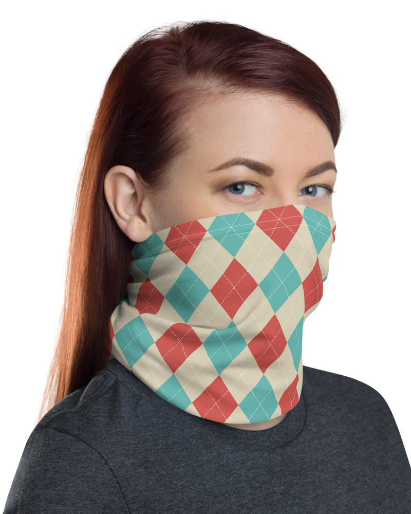 Argyle Face Mask Neck Warmer classic gray pink blue squares headbands