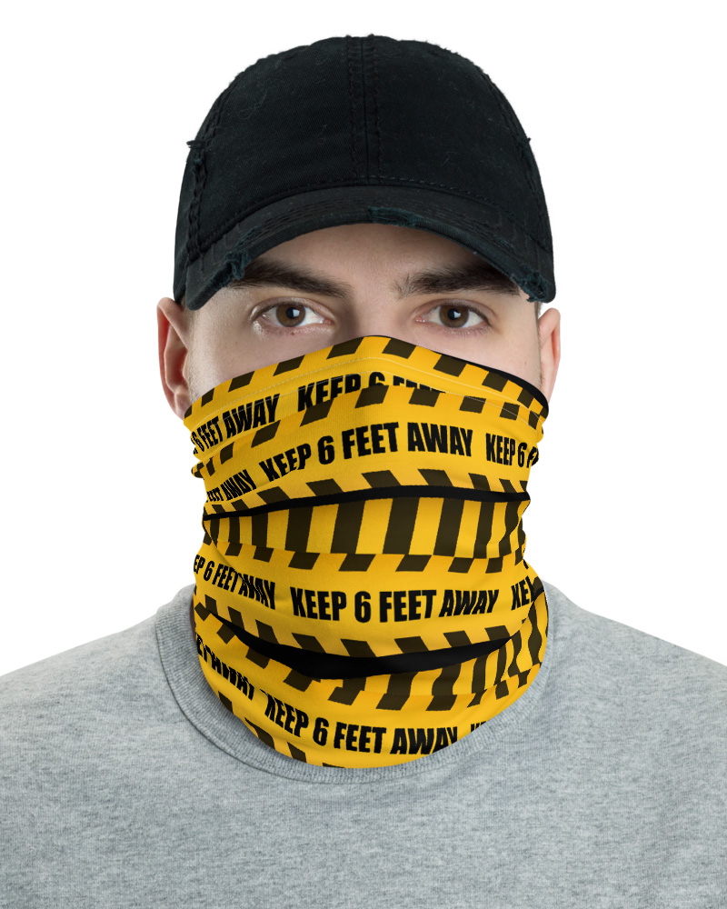 Caution Tape Warning Keep 6ft Away Face Mask Neck Gaiter yellow face cover bandana headband