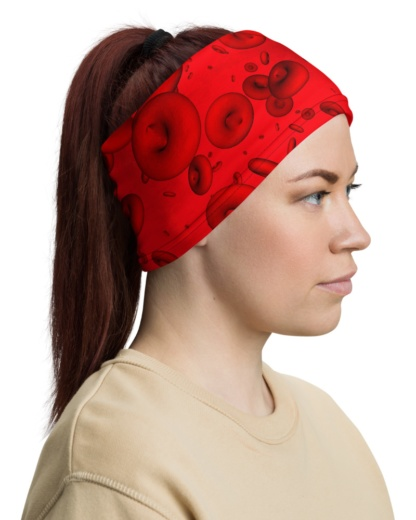 Blood Cells Microscopic Face Mask Neck Warmer red gaiter headband