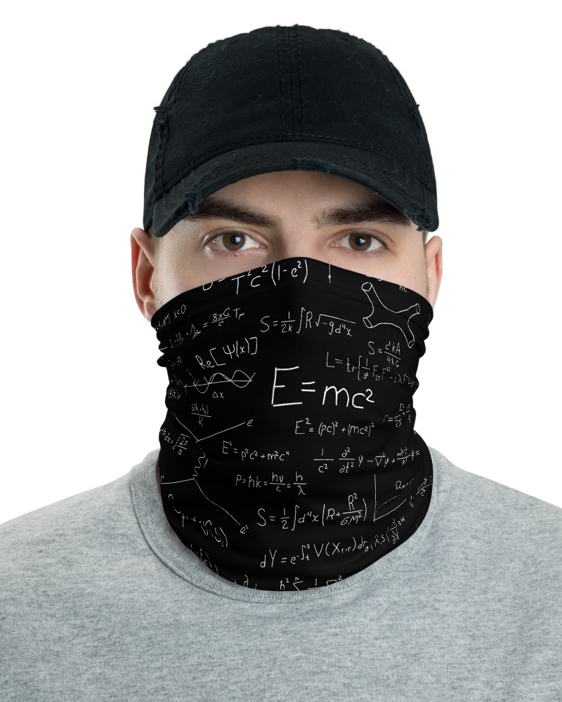 Relativity Theory & Quantum Mechanics Einstein Face Mask Neck Warmer science gaiter