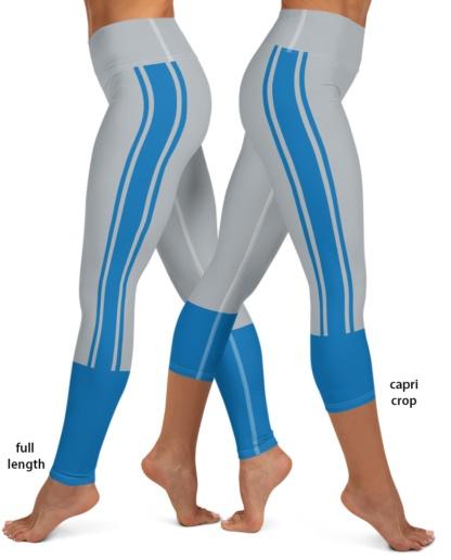 Detroit Lions Sports Football Uniform Yoga Leggings gray blue michigan