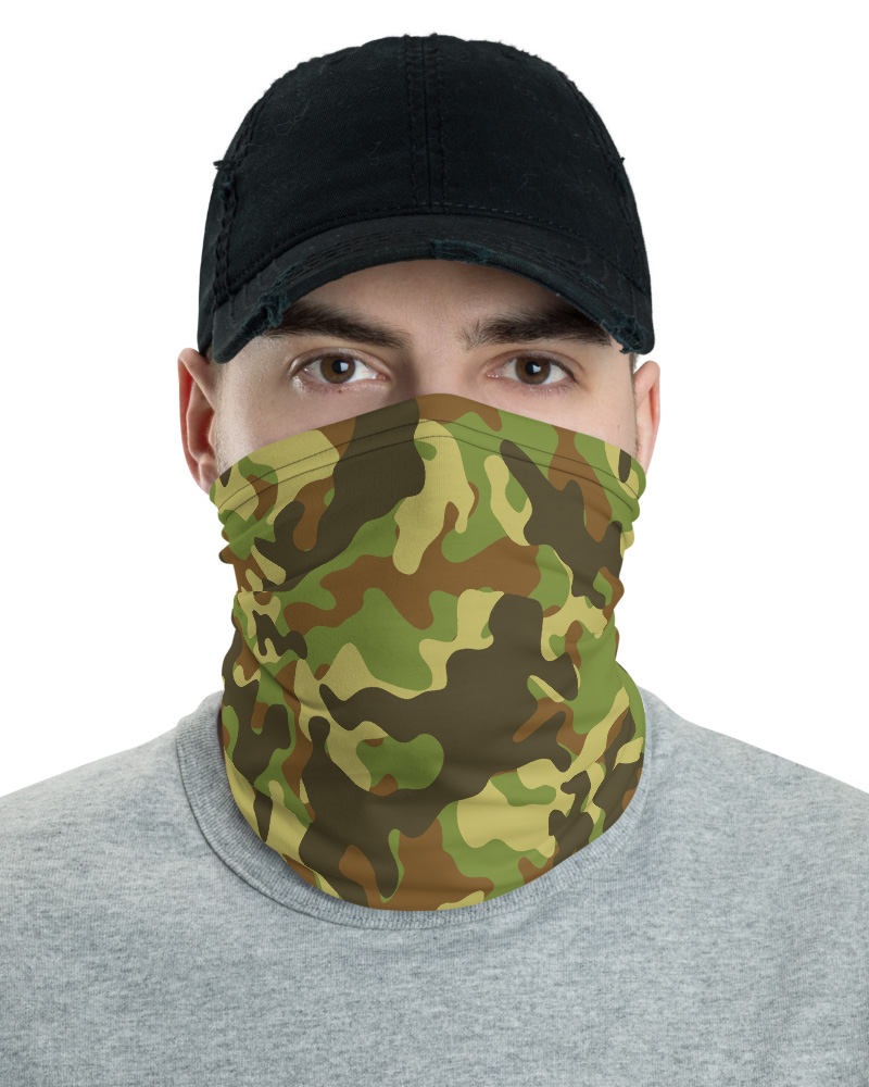 Camouflage Camo Face Mask Neck Warmer blue green khaki pink green