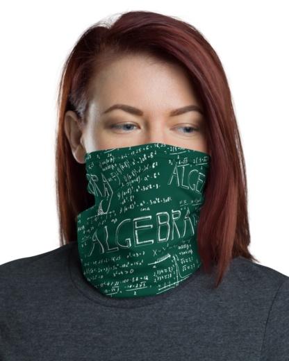 Math Algebra Green Chalkboard Face Mask Neck Warmer