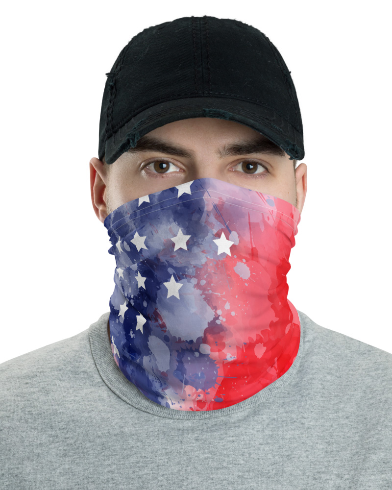 Abstract USA Flag Face Mask Neck Gaiter USA 4th of July American America patrotic patriot patriotic stars stripes star blue red