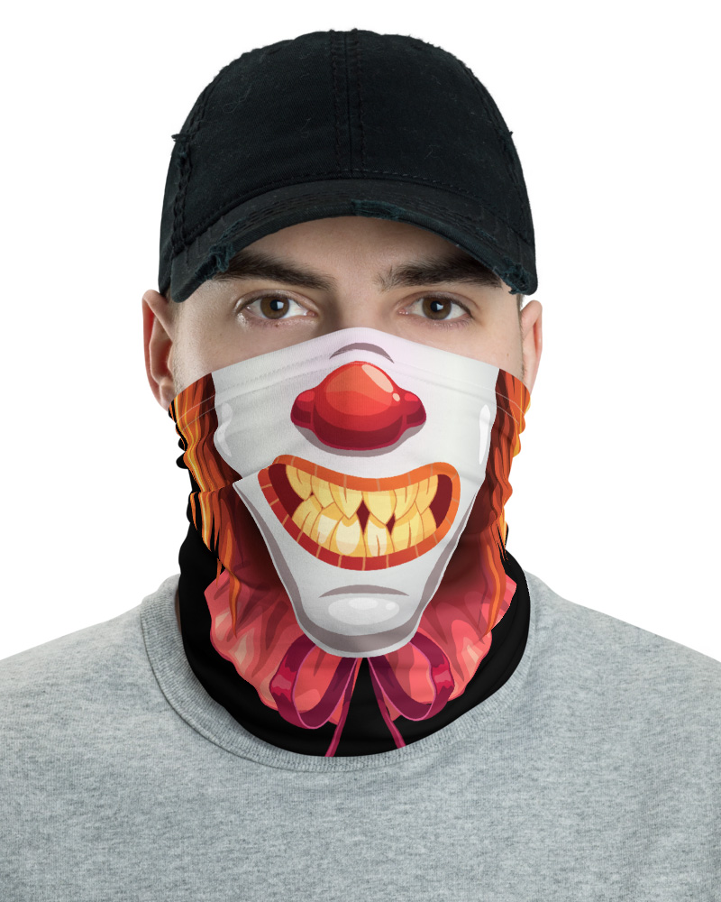Crazy Scary Clown Face Mask Neck Gaiter bandana headband
