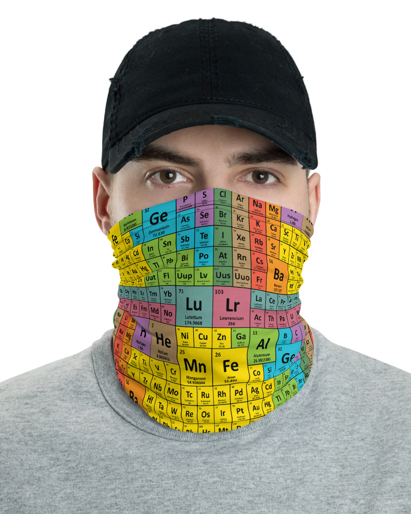 Periodic Table of Elements Face Mask Neck Warmer gaiter protective science scientist