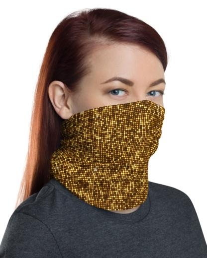 Gold Shimmer Mask Neck Warmer headband gaiter