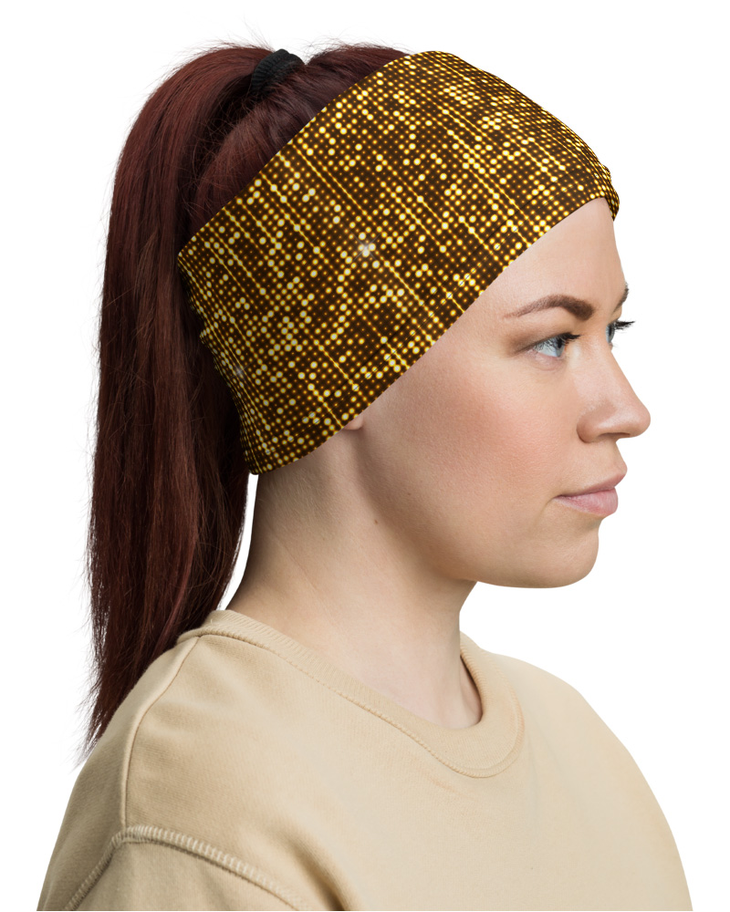 Gold Shimmer Mask Neck Warmer headband gaiter