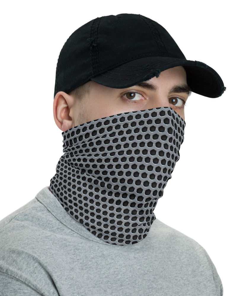 Chrome Metal Grill Face Mask Neck Warmer