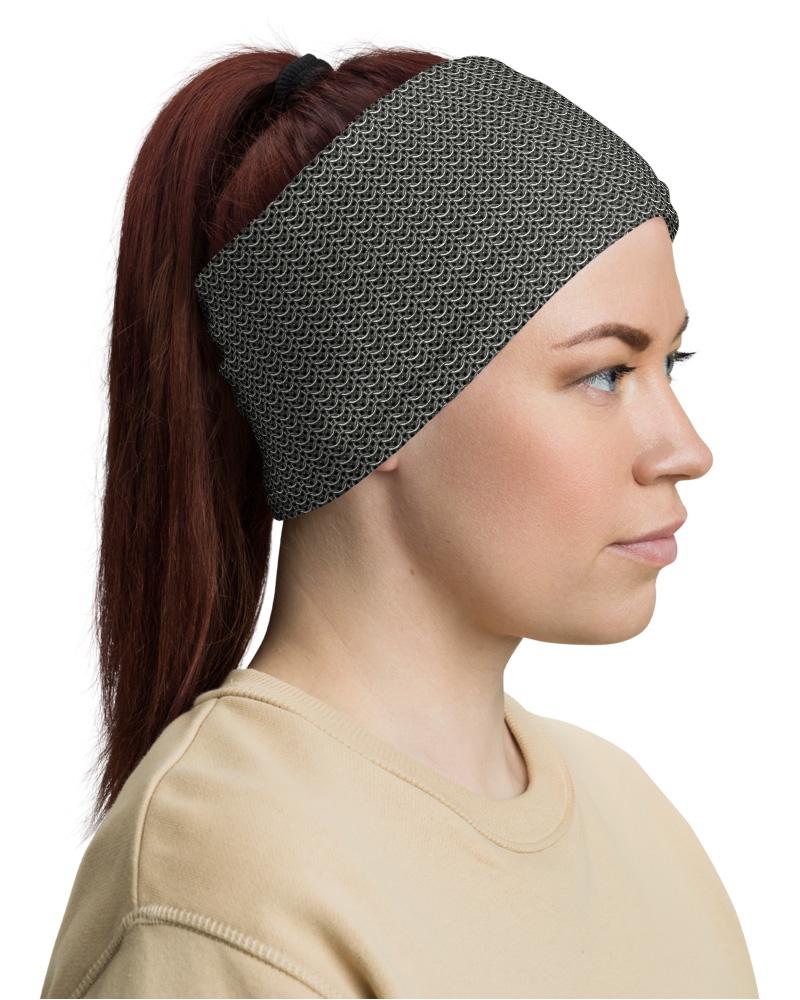 Metal Chainmail Mask Neck Warmer headband Gaiter protector metallic